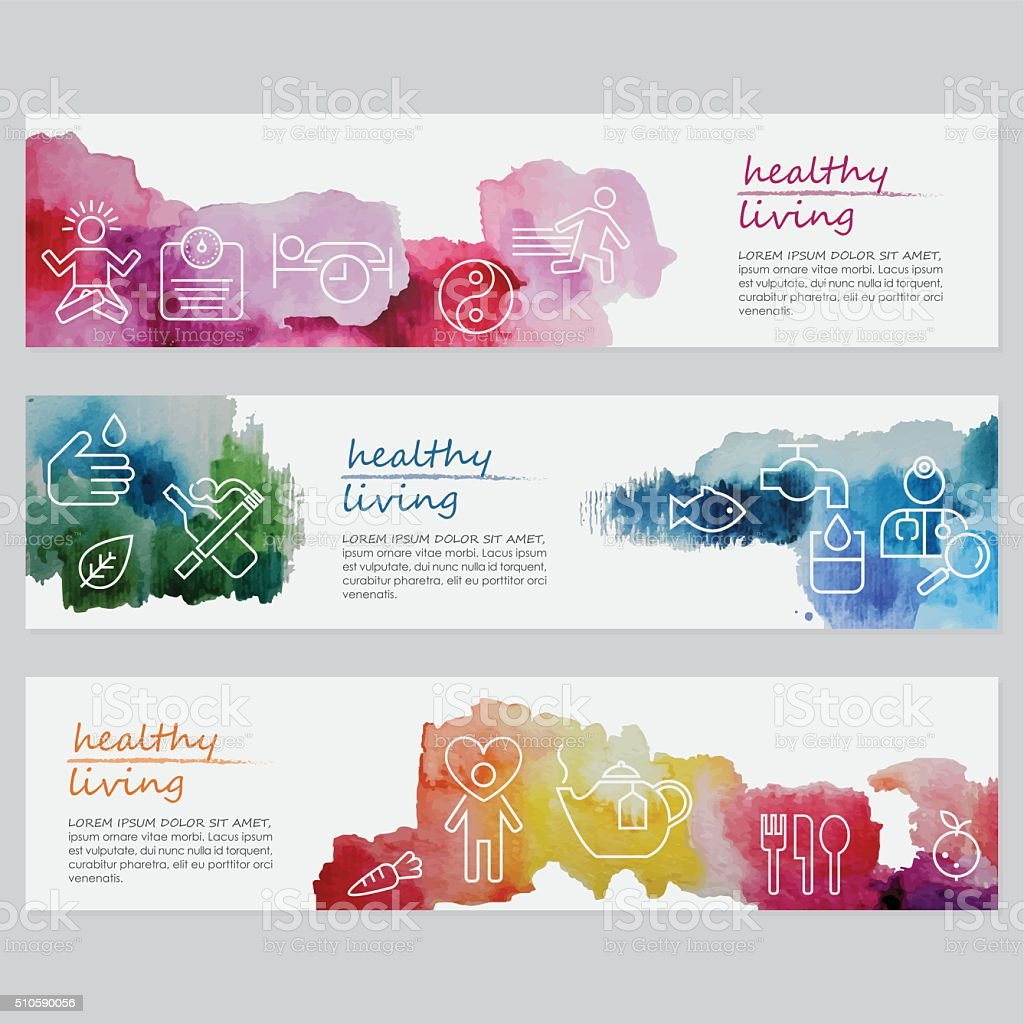Healthy Living Banners Including Line Icons Set vector art illustration