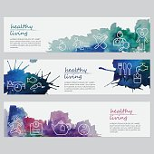 Vector watercolor banners including line icons set depicting healthy lifestyle. List of icons: Eat fruits; Be active; Avoid unhealthy habits; Get check-ups; Love yourself; Sleep enough; Eat sea food; Eat vegetables; Eat healthy; Drink a lot of water; Meditate; Be a healthy weight; Drink herbal tea; Manage stress. Illustration is nicely layered.