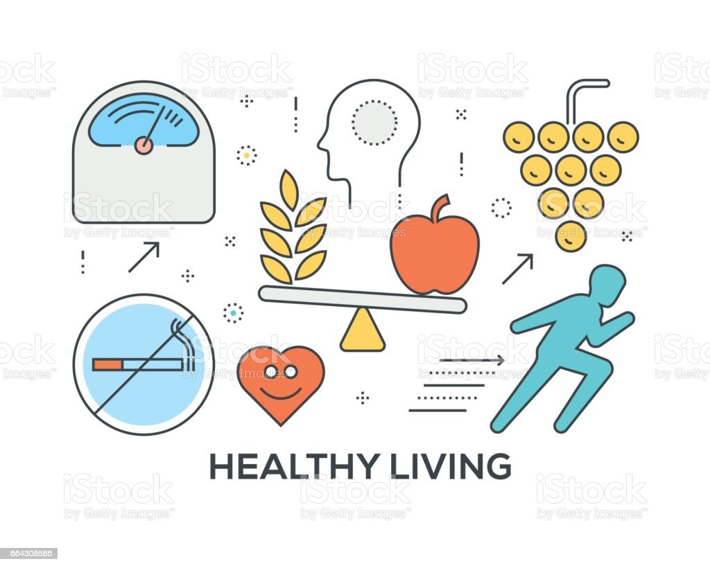 Healthy Living Concept with icons vector art illustration