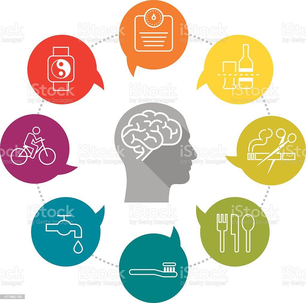 ilustraci243n de icono de vida saludable y m225s banco de