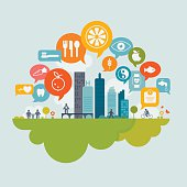 Healthy living in the city concept, including flat icon set.