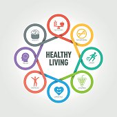 Healthy Living infographic with 8 steps, parts, options