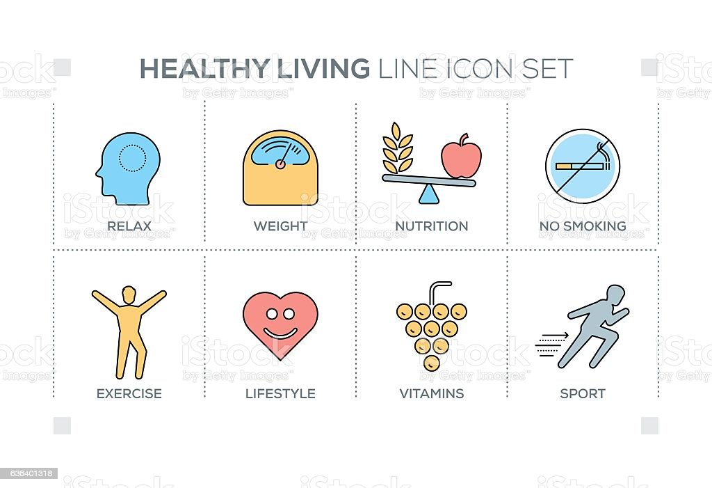 Healthy Living keywords with line icons vector art illustration
