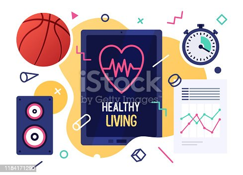 istock Healthy Living Vector Illustration Banner Design 1184171290