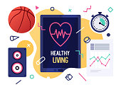 istock Healthy Living Vector Illustration Banner Design 1184171290