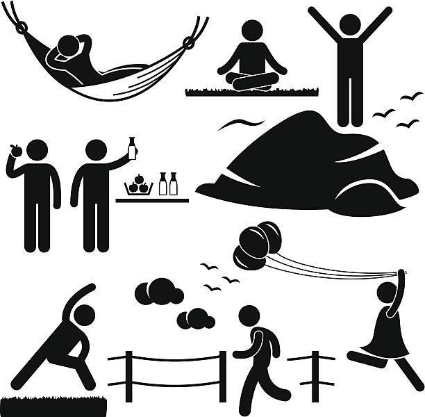 bildbanksillustrationer, clip art samt tecknat material och ikoner med healthy living wellness lifestyle pictogram - jogging hill