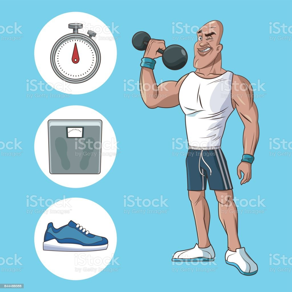 healthy man athletic muscular weight scale sneaker vector art illustration