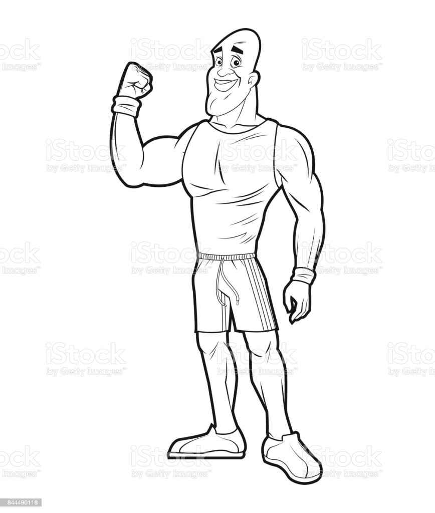 healthy man athletic strong arm sketch vector art illustration