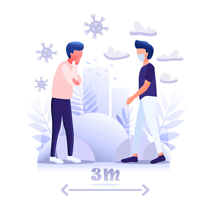 A healthy man keeps this distance and wears a mask from a sick person to avoid COVID-19 coronavirus. Outbreak spreading concept. Flat Vector Illustration.