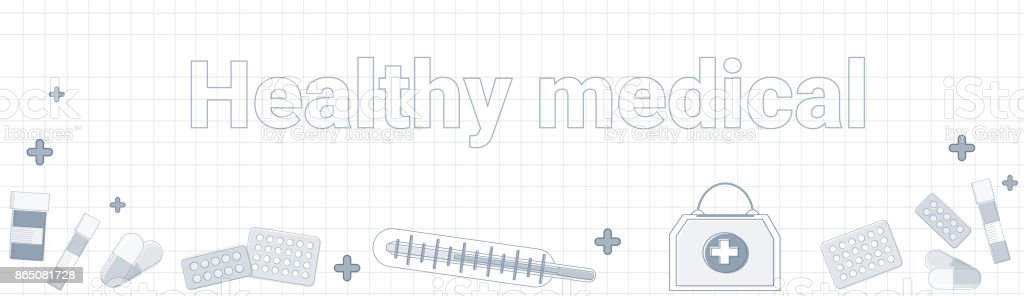 Healthy Medical Word On Squared Background Horizontal Banner