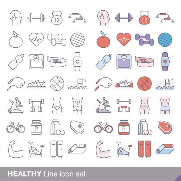 healthy minimal line icon set vector art illustration