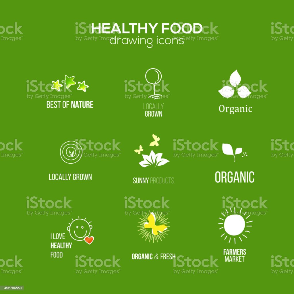 Healthy natural food  sign set at green backdrop vector art illustration