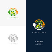 istock Healthy Nature food logo designs concept vector, Vegetarian food symbol Creative logo 1210699725