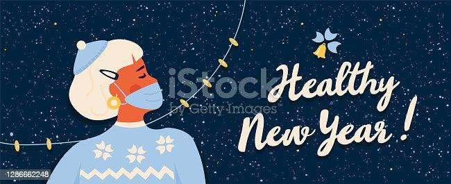 istock Healthy New 2021 Year during covid-19 coronavirus pandemic. 1286662248