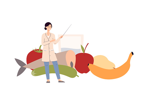 Healthy nutrition and diet - woman nutritionist vector illustration isolated.