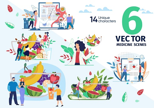 Healthy Nutrition and Dieting Vector Scenes Set
