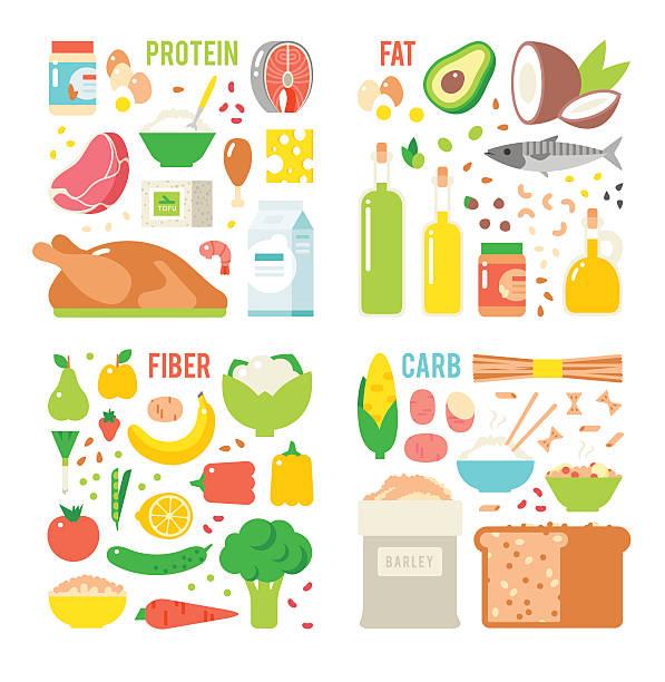 ilustraciones, imágenes clip art, dibujos animados e iconos de stock de alimentación saludable, proteínas, grasas carbohidratos dieta equilibrada, cocina, culinario y - carbohidrato