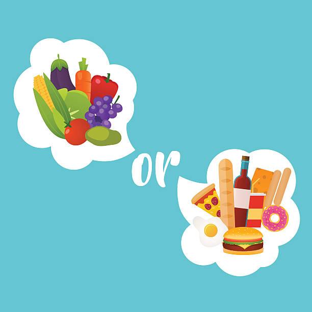 ilustrações de stock, clip art, desenhos animados e ícones de healthy or fast food. diet, nutrition, fitness and health concep - fail cooking