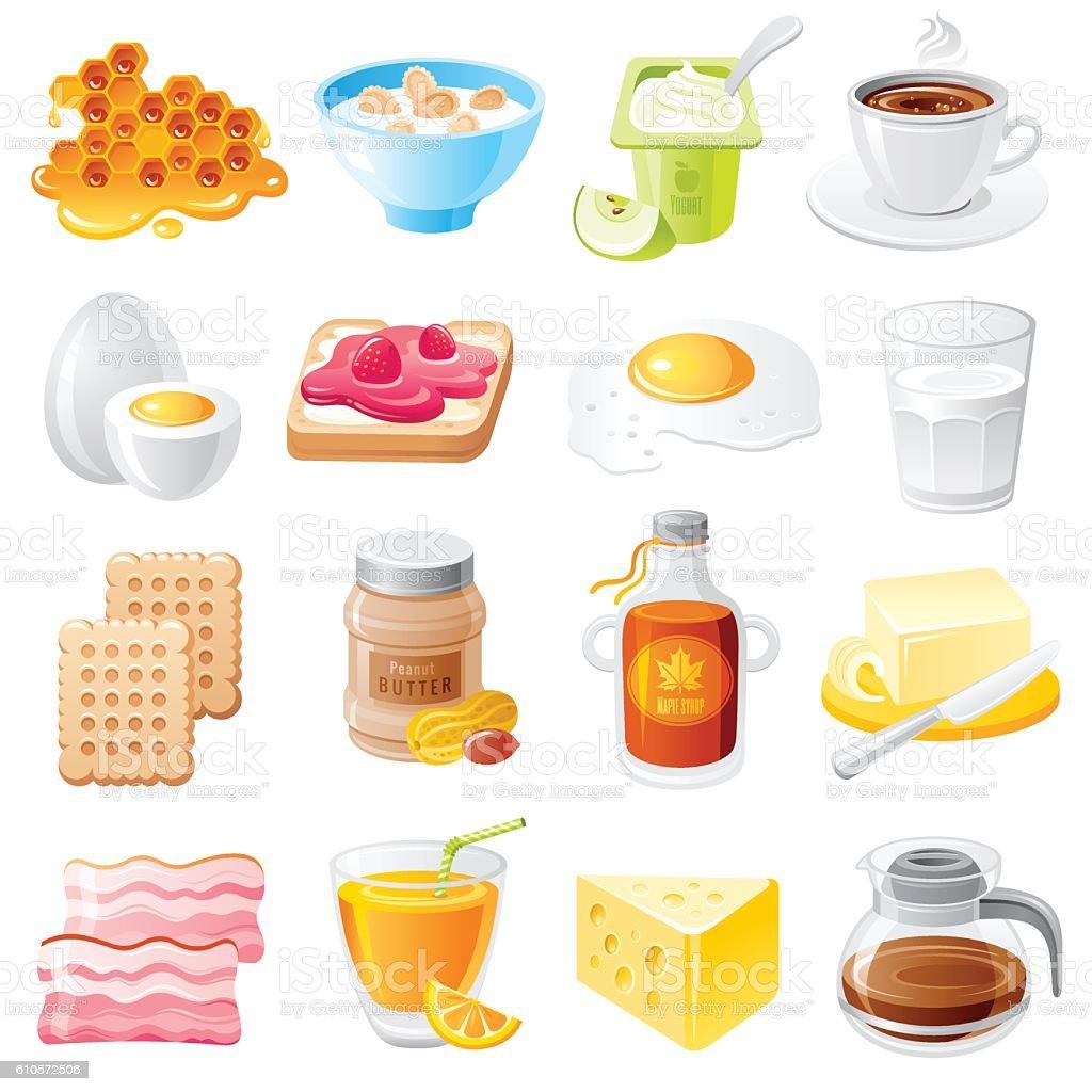Healthy Organic Breakfast Food Vector Icon Set Mueslie ...