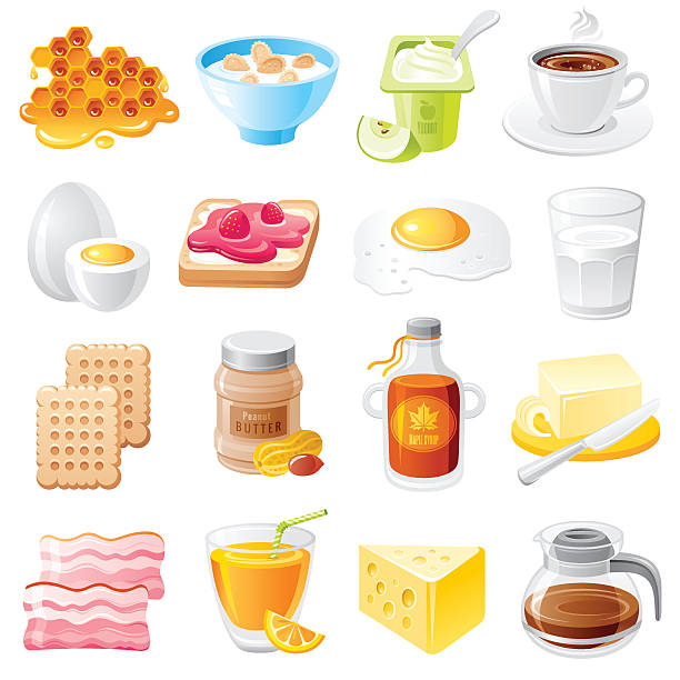 Healthy organic breakfast food vector icon set. Mueslie, yogurt, bacon Healthy organic breakfast food vector icon set. Dieting meal icons illustration - honey, mueslie, yogurt, coffee, egg, sandwich, milk, biscuit cookie, peanut butter, maple syrup, bacon, juice, cheese maple syrup stock illustrations