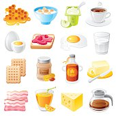 Healthy organic breakfast food vector icon set. Mueslie, yogurt, bacon