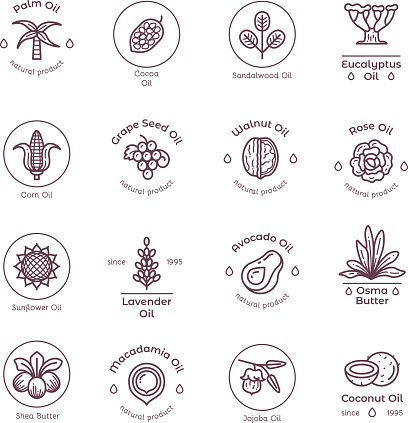 Healthy organic flower cosmetics oil linear vector labels and logos
