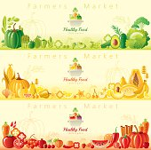Healthy organic food banners with copyspace