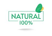 Healthy organic food label icon with 100 percent natural stamp text and green leaves flat cartoon design illustration, concept of bio 100 pure guarantee tag isolated on white image