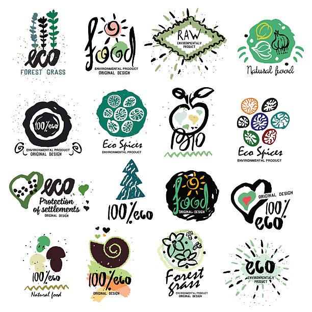 Los saludables alimentos orgánicos etiquetas de logotipo para vegetarianos. - ilustración de arte vectorial