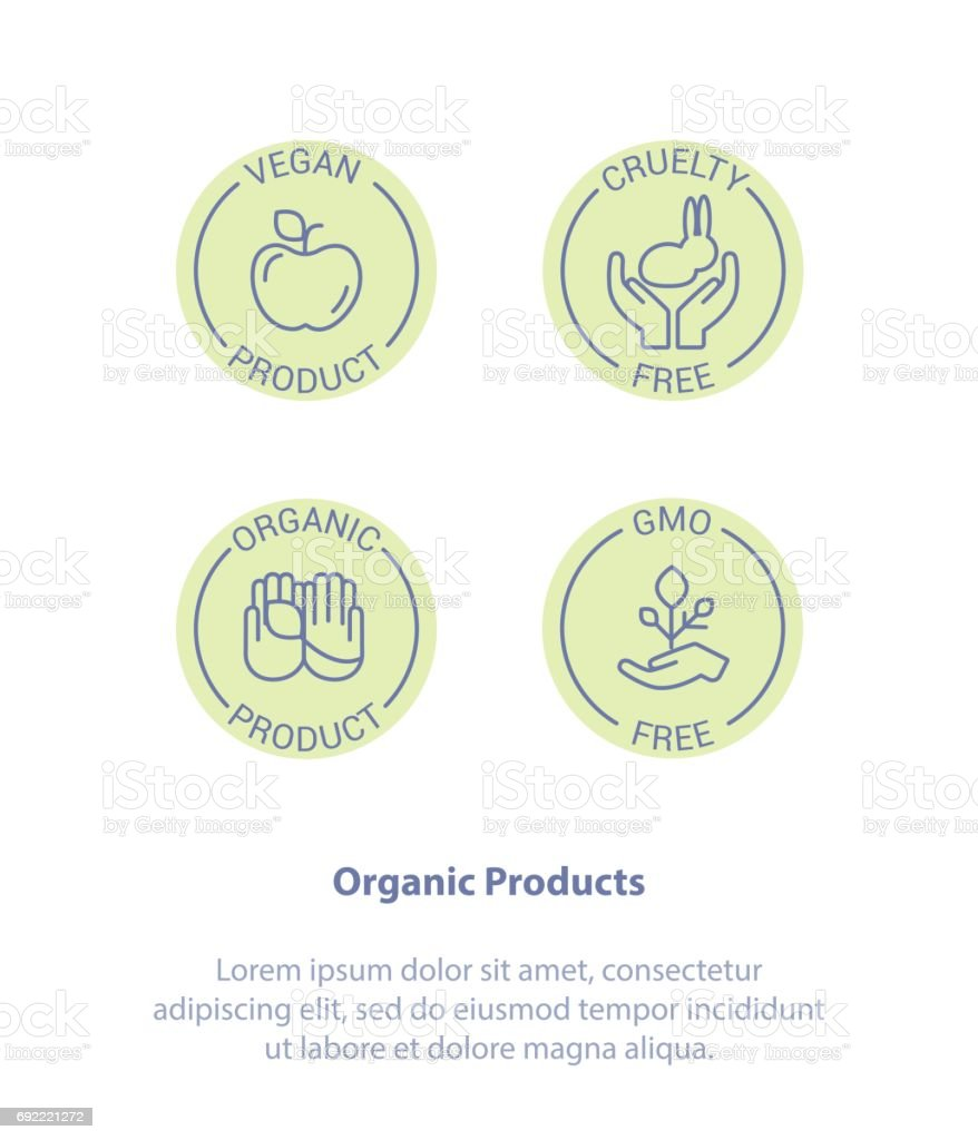 Healthy Organic Products Logo. Vegan, Cruelty Free, GMO, Organic. vector art illustration