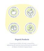 Thin Line Icon Set Concept of Healthy Organic Products. Vegan, Cruelty Free, GMO, Organic. Healthy food badges, tags set for cafe, restaurants, products packaging.
