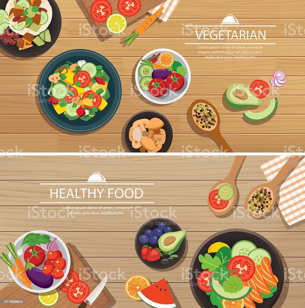 healthy organic vegetarian on a wooden background top view flat vector art illustration