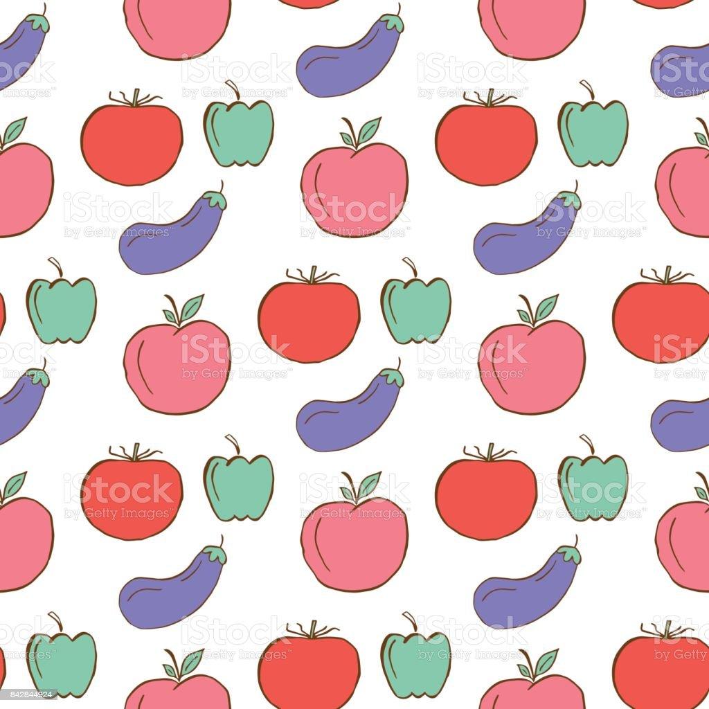 Gezond patroon met groenten en fruit. - Royalty-free Aardbei vectorkunst
