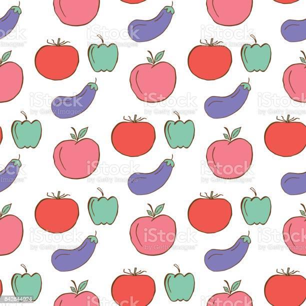 Gezond Patroon Met Groenten En Fruit Stockvectorkunst en meer beelden van Aardbei