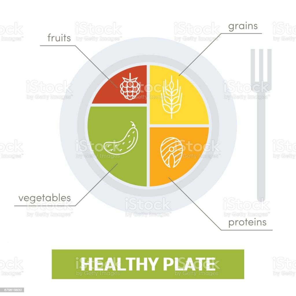 Healthy plate concept - Illustration vectorielle