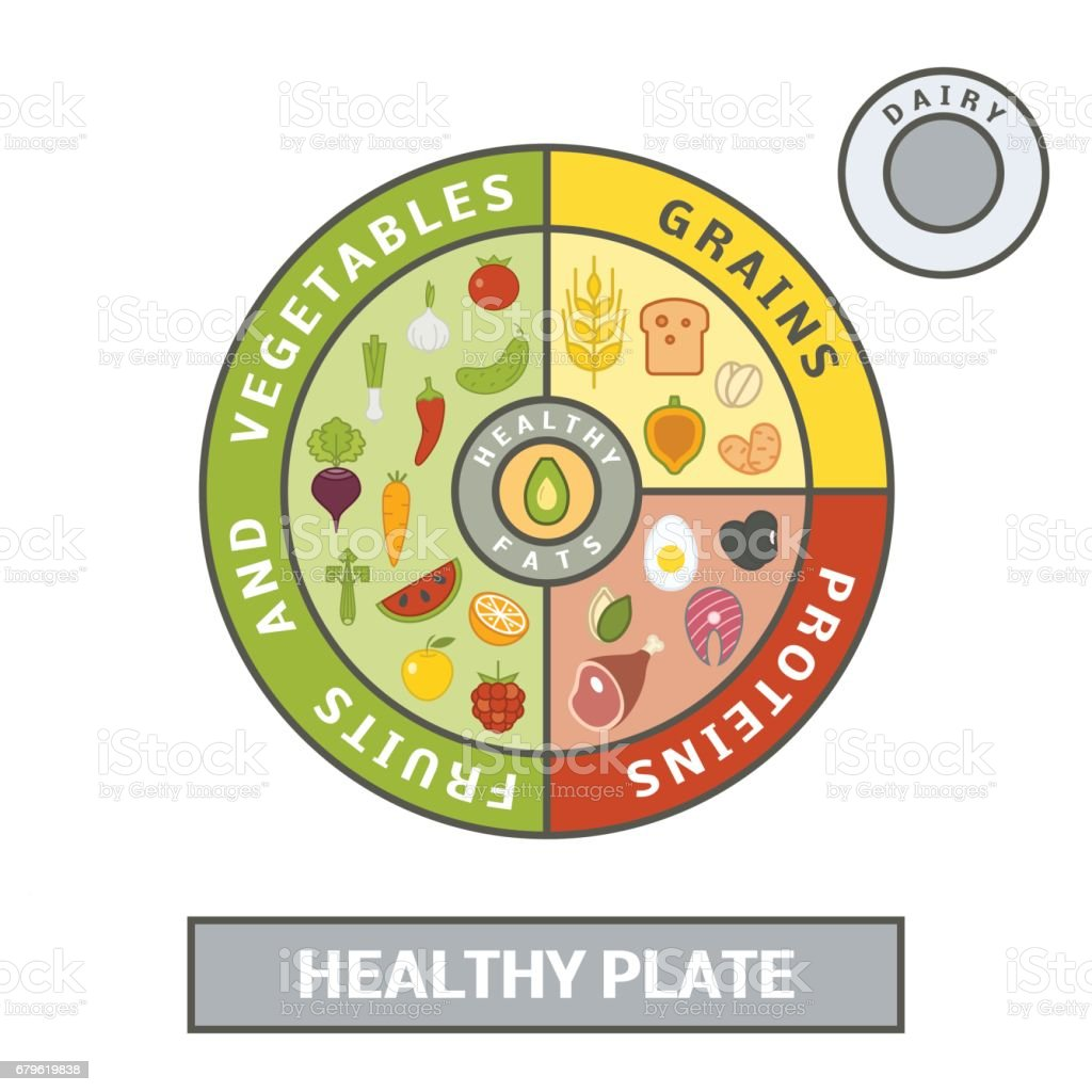 Healthy plate concept vector art illustration