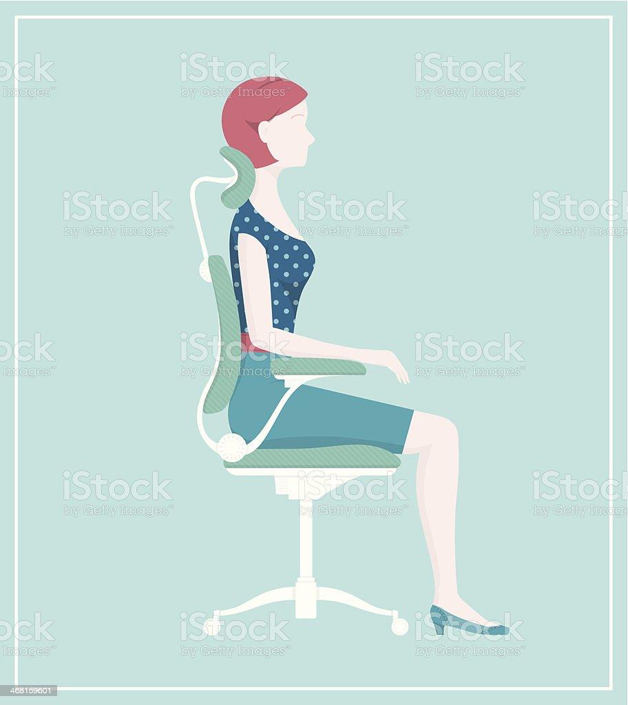 Eine Gesunde Körperhaltung Und Ergonomischem Stuhl Stock Vektor Art