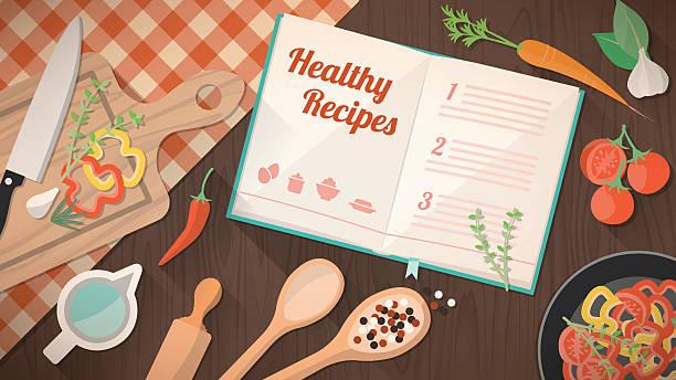 ilustraciones, imágenes clip art, dibujos animados e iconos de stock de libro de recetas saludables - comida casera
