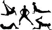 A collection of women silhouettes working out.  Click here to see more [url=/file_search.php?action=file&lightboxID=2635336]healthy illustrations[/url]  You may also like these files: [url=/file_search.php?action=file&lightboxID=872244]Dance Silhouettes and Illustrations[/url]