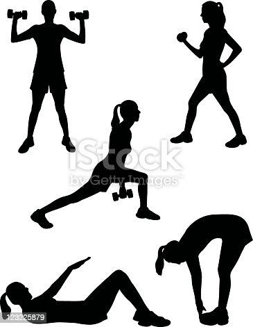 A collection of women silhouettes working out.