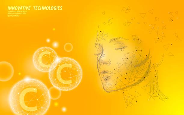 건강 한 피부 비타민 복잡 한 낮은 폴리 구 거품. 건강 보조 식품 여성 얼굴 안티 에이징 뷰티 화장품 배너 템플릿. 3d c 알약 의학 과학 벡터 일러스트 - vitamin d stock illustrations