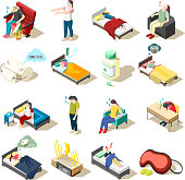 Set of isometric icons healthy night rest and sleep disorder, objects for good dream, isolated vector illustration