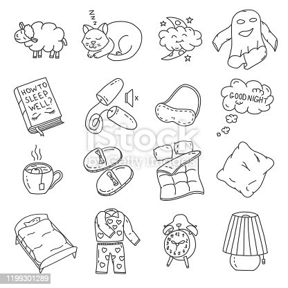 Set of vector doodles on the theme of sleep. Vector Illustration. Hand drawing elements of a healthy sleep.