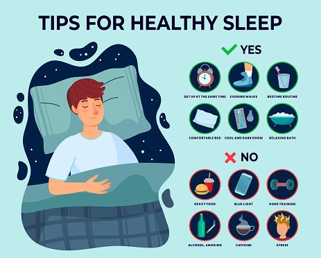 Healthy sleep tips infographics. Causes of insomnia, good sleep rules and man sleeps on pillow vector illustration