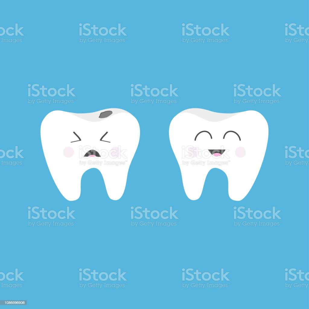 122886727 Ícone de dente saudável sorridente. Chorando maus doentes dentes com cárie.  Conjunto de caracteres