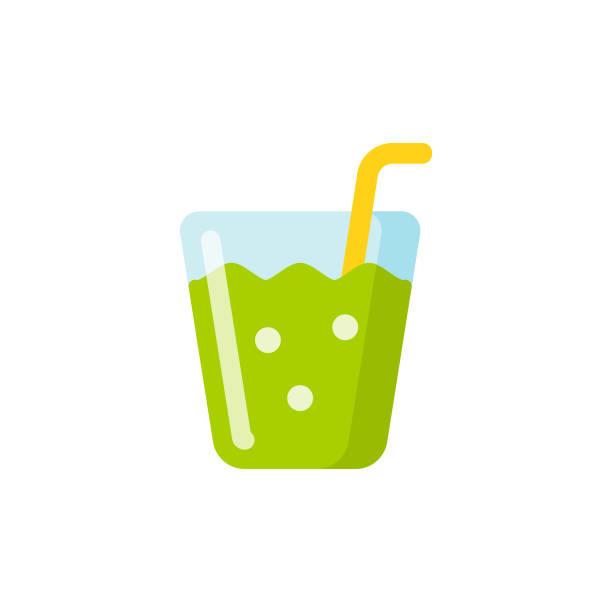 illustrazioni stock, clip art, cartoni animati e icone di tendenza di healthy smoothie, cocktail flat icon. pixel perfect. for mobile and web. - healthy green juice
