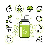 Vector illustration in trendy linear style - healthy smoothie constructor infographics design elements - jar with fruits and vegetables