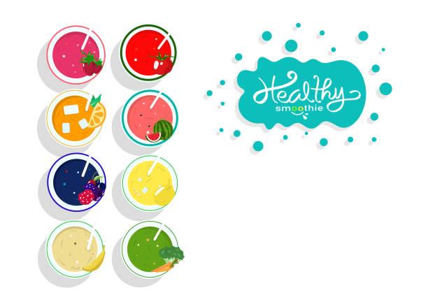 bildbanksillustrationer, clip art samt tecknat material och ikoner med hälsosam smoothie juice samling balans diet meny, banner mall mat och dricka produkt, grönsaker och frukt på vit utrymme bakgrund vektor affisch - smoothie