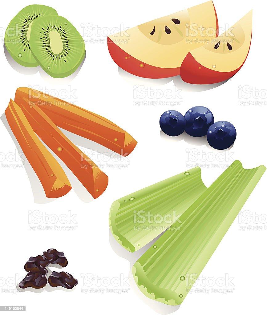 Healthy Snack Foods vector art illustration