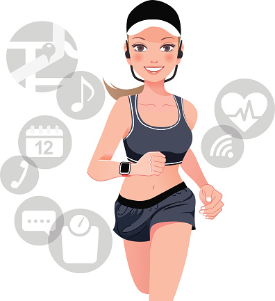 Healthy sport woman with smart watch device